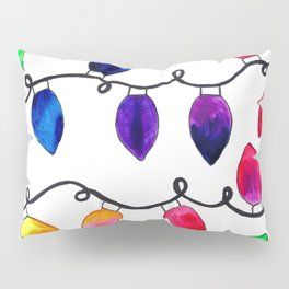 Colorful Christmas Holiday Light Bulbs Pillow Sham