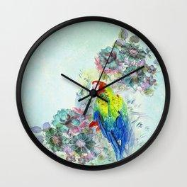 Parrot Bouquet - Teal Wall Clock