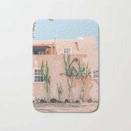 Pink House With Cactus Bath Mat