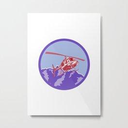 Helicopter Alps Mountains Circle Retro Metal Print