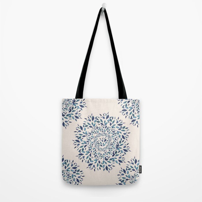 Indigo Leaves Mandala Tote Bag