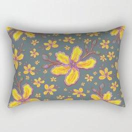 Yellow Flowers on Gray Rectangular Pillow