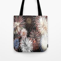 fireworks Tote Bags featuring Fireworks by Urlaub Photography