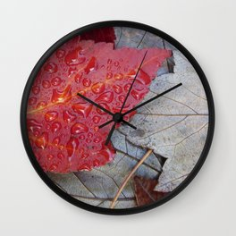 Red Sunset Maple Leaves Wall Clock