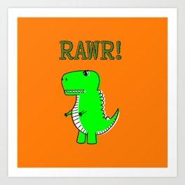 Cute And Angry Cartoon T-Rex Art Print