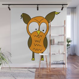 Lovely and funny looking owl Wall Mural