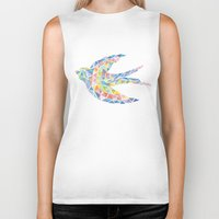 swallow Biker Tanks featuring Triangled Swallow  by XOOXOO