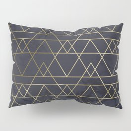 Modern Deco Gold and Marble Geometric Mountains on Navy Blue Pillow Sham