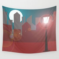 skyline Wall Tapestries featuring Skyline  by Pilar Andres