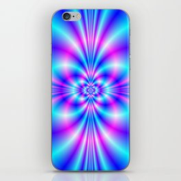 Butterfly Quatrefoil in Blue and Pink iPhone Skin