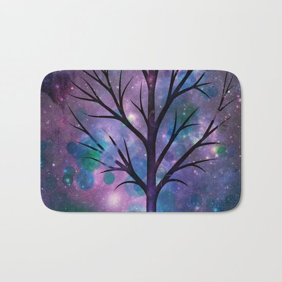 Tree in a fairy-like blue lilac sparkle spring night Bath Mat