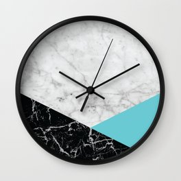 White Marble - Black Granite & Teal #871 Wall Clock