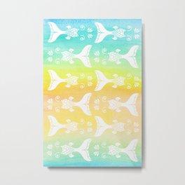 Mermaid Tails Pattern Silhouette / Watercolor Gradients Metal Print