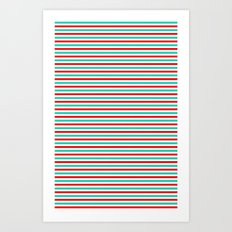 Red and Aqua Stripes Art Print