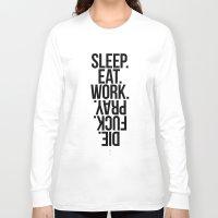 sleep Long Sleeve T-shirts featuring Sleep by LazyDog