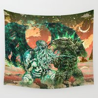 godzilla Wall Tapestries featuring Cthulhu vs Godzilla by Beery Method