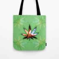 marijuana Tote Bags featuring Marijuana Leaf - Design 1 by Spooky Dooky