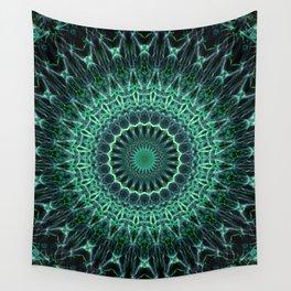 Mandala in green glowing tones Wall Tapestry