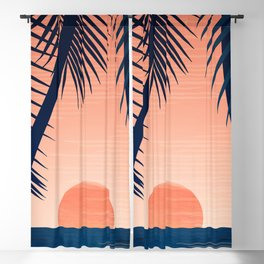 Sunset Palms - Peach Navy Palette Blackout Curtain