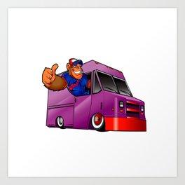Cartoon illustration of a gorilla driving a van Art Print