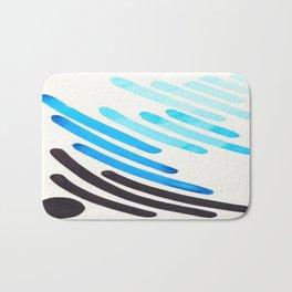 Cerulean Blue Watercolor Colorful Stripes Mid Century Modern Art Primitive Abstract Art Bath Mat