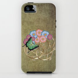 Butterfly and flowers on gold scrollwork iPhone Case