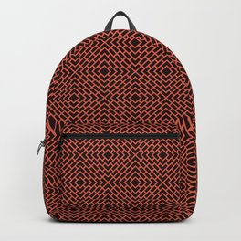 Pantone Living Coral and Charcoal Gray Diamond Rectangle Line Pattern Backpack