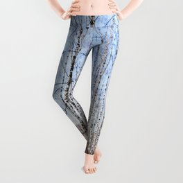 March Sun Over The Snow-Covered Birch Grove, Long Blue Shadows Leggings