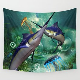 Awesome marlin with jellyfish Wall Tapestry