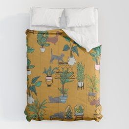 Houseplants dogs and cats quirky cute conversational Comforters