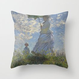 Art Woman with a Parasol Madame Monet and her son Claude Monet Throw Pillow