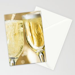 Two Sparkling Champagne Glasses Cheers Celebrating New Years Close Up Ultra HD Stationery Cards