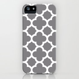 Gray Quatrefoil iPhone Case