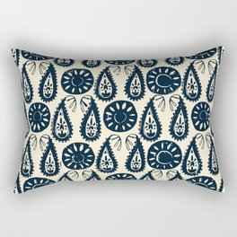 paisley block indigo ivory Rectangular Pillow