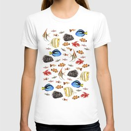Tropical Fish on White - pattern T-shirt