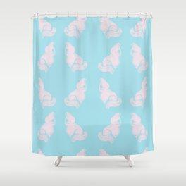 Grapefruit Cat - Lighten on Blue Shower Curtain