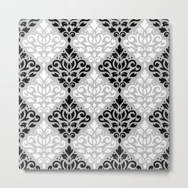 Scroll Damask Pattern BWG Metal Print