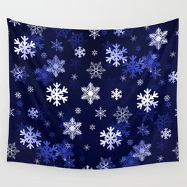 Dark Blue Snowflakes Wall Tapestry