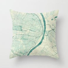 St. Louis Map Blue Vintage Throw Pillow