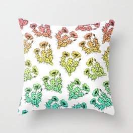 Modern abstract teal coral gradient floral cactus Throw Pillow