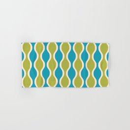 Classic Retro Ogee Pattern 852 Turquoise and Olive Hand & Bath Towel