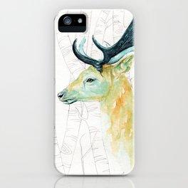 Scandinavian stag illustration iPhone Case