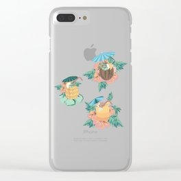 Tropical drinks mid-century style Clear iPhone Case