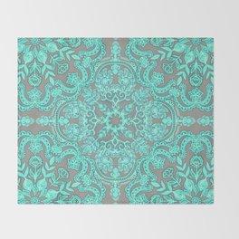 Mint Green & Grey Folk Art Pattern Throw Blanket