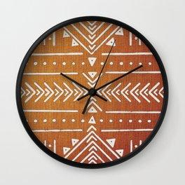 Mudcloth White Geometric Shapes in Ochre Burnt Orange Wall Clock