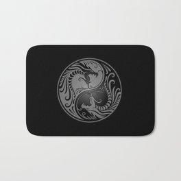 Gray and Black Yin Yang Dragons Bath Mat