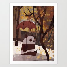 Panda Is Ready For Autumn Art Print