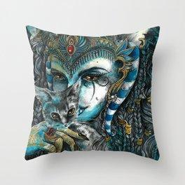 Goddess Bastet Throw Pillow