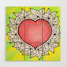 Watercolor Doodle Art | Heart Wood Wall Art
