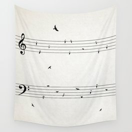 Music Score with Birds Wall Tapestry
